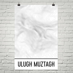 Ulugh Muztagh Topographic Map Art