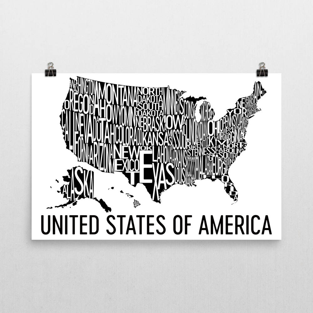 United States Of America Neighborhood Typography Prints Modern Map - Us-map-poster