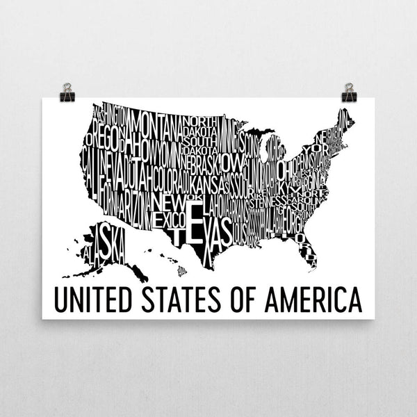 United States of America Neighborhood Typography Prints – Modern Map Art
