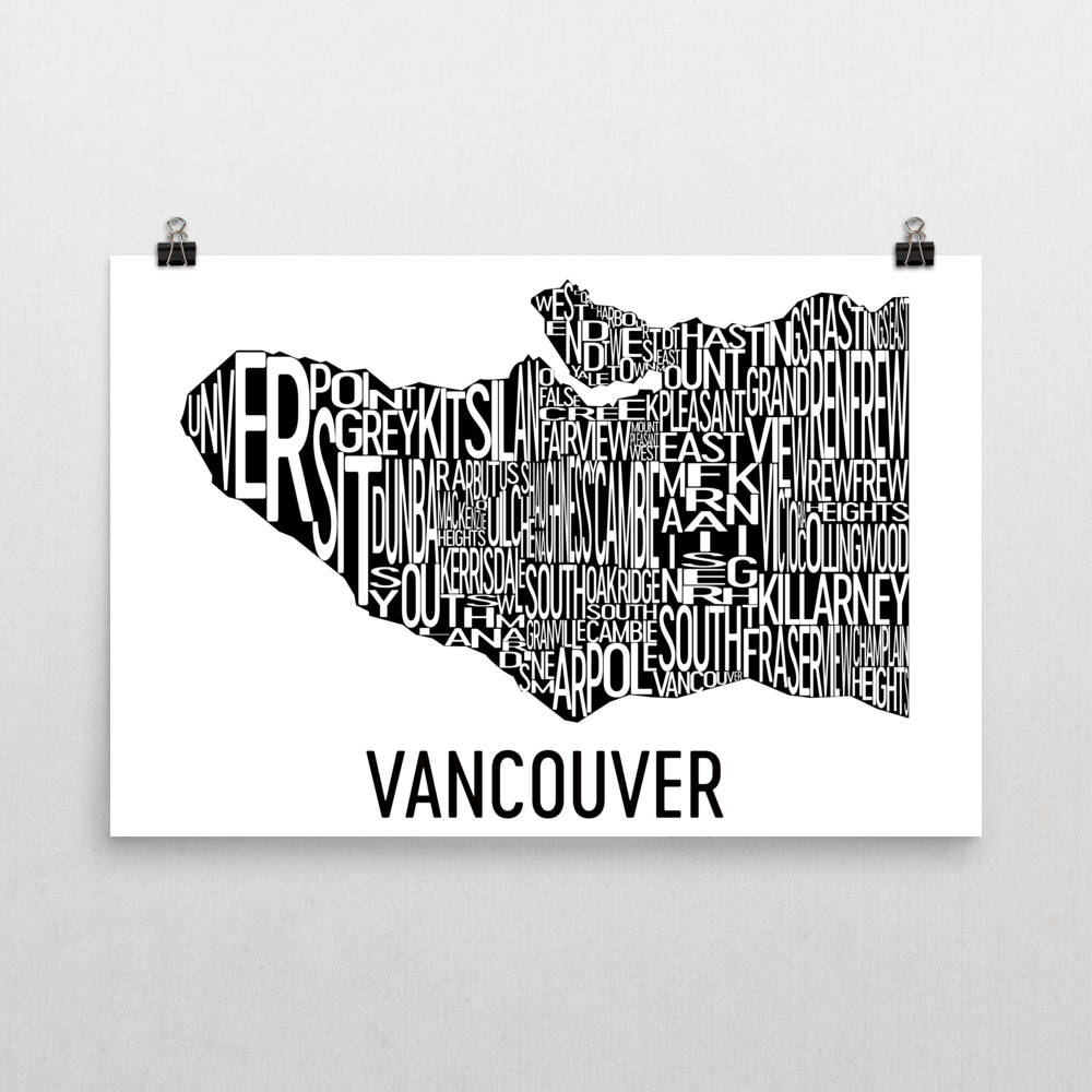 Vancouver Neighborhood Typography Prints – Modern Map Art
