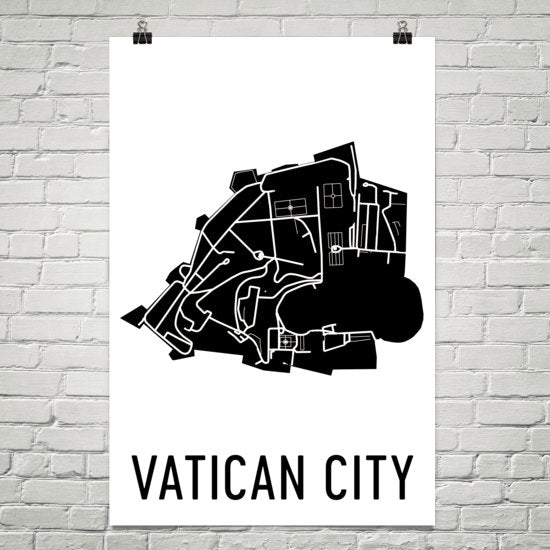Vatican Wall Map Print - Modern Map Art
