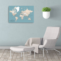 Framed World Map With Push Pins - Comes With 10 Different Pin Colors!