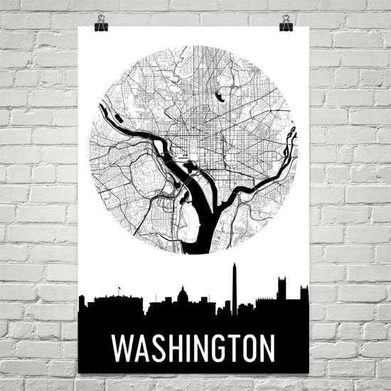 Washington DC Skyline Silhouette Art Prints