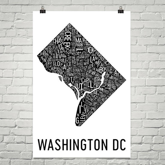 Washington DC Neighborhood Typography Prints – Modern Map Art
