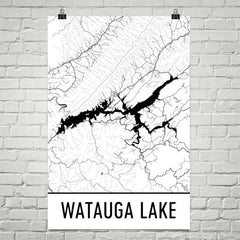 Watauga Lake TN Art and Maps