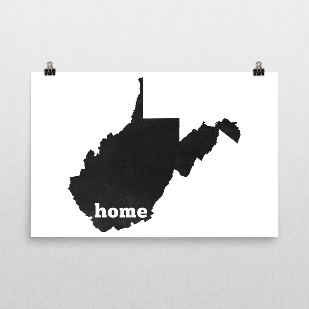 West Virginia Home State Map Art