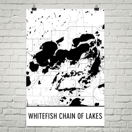 Whitefish Chain of Lakes MN Art and Maps