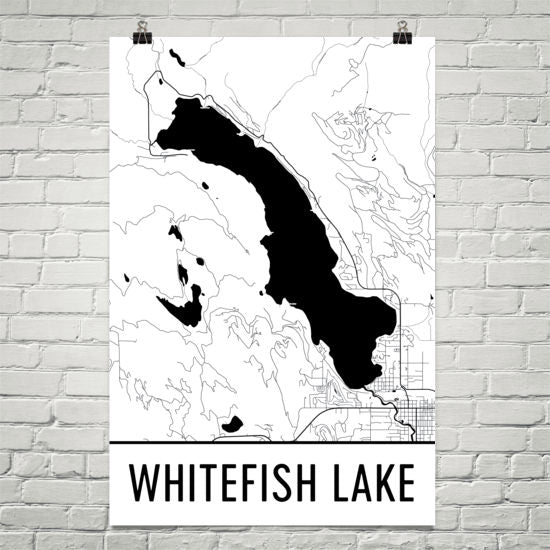 Whitefish Lake MT Art and Maps