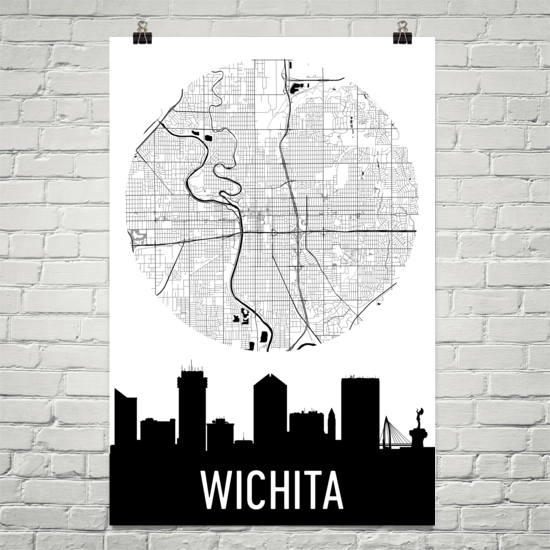 Wichita Skyline Silhouette Art Prints
