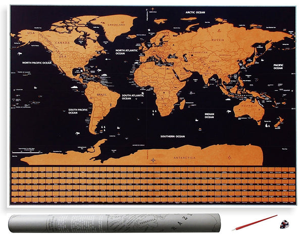 Scratch Off World Map - Great Gift For Travelers From Modern Map Art