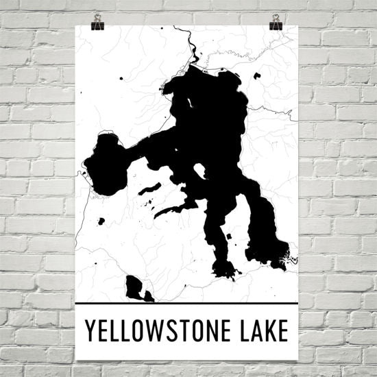 Yellowstone Lake WY Art and Maps