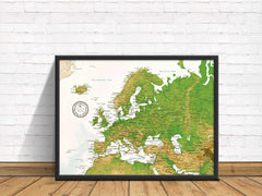 Europe Push Pin Map - Topographic - With 1,000 Pins!
