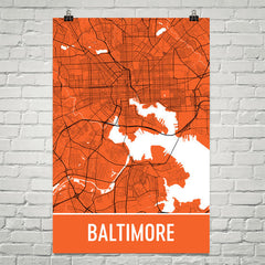 Baltimore MD Street Map Poster Orange