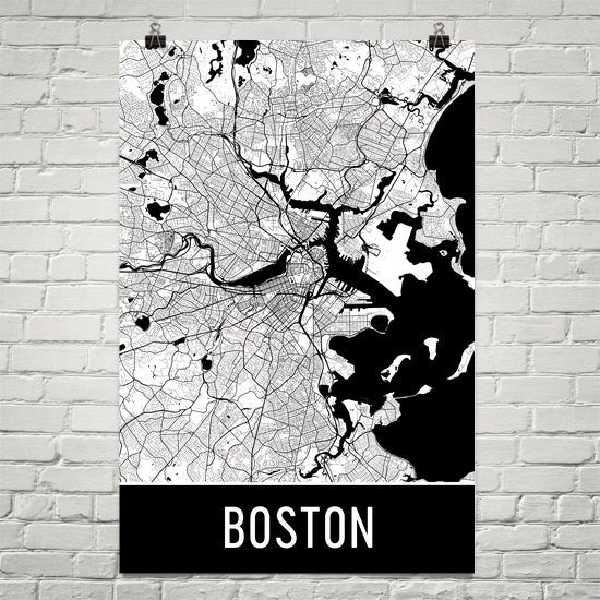 Boston MA Street Map Poster White