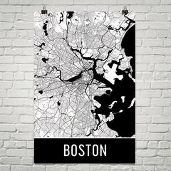 Boston MA Map, Art, Print, Poster, Wall Art From $29.99 - ModernMapArt - Modern Map Art