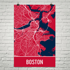 Boston MA Street Map Poster Green