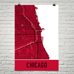 Chicago IL Street Map Poster Red