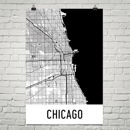 Chicago IL Street Map Poster - Wall Print by Modern Map Art on
