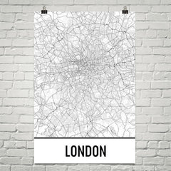 London England Street Map Poster White