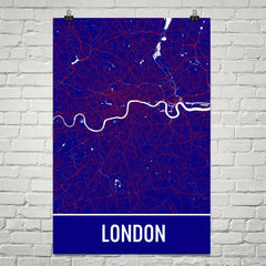 London England Street Map Poster Blue