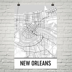 New Orleans Map Street Map Poster White