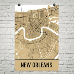 New Orleans Map Street Map Poster Gold