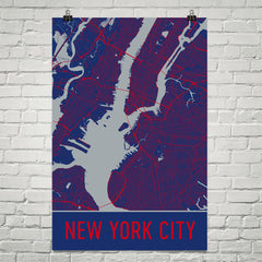 New York City NY Street Map Poster Black