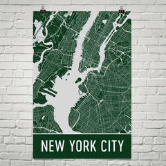 New York City NY Street Map Poster Gray