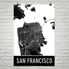 San Francisco CA Street Map Poster Red