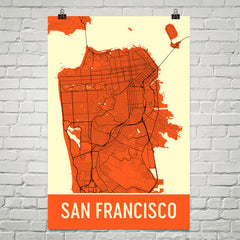 San Francisco CA Street Map Poster Black
