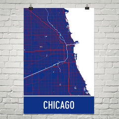 Chicago IL Street Map Poster Black