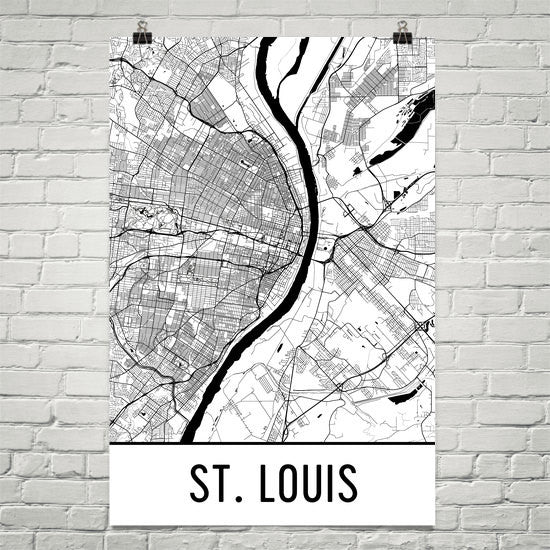 St. Louis MO Street Map Poster White
