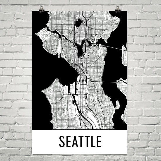 Seattle WA Street Map Poster White