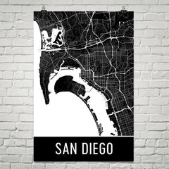 San Diego CA Street Map Poster Blue and White