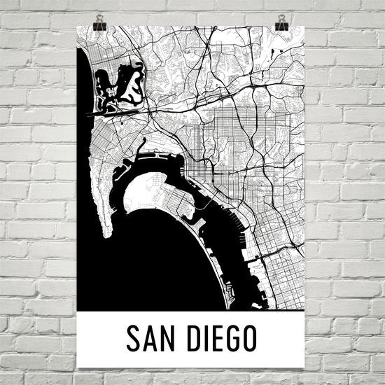San Diego CA Street Map Poster White