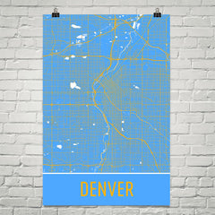 Denver CO Street Map Poster Maroon