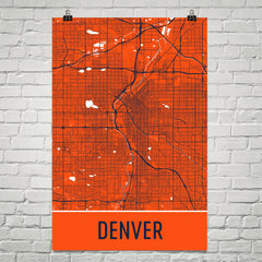 Denver CO Street Map Poster Black