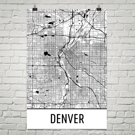 Denver CO Street Map Poster White