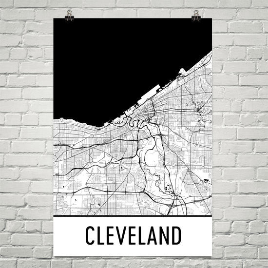 Cleveland OH Street Map Poster White