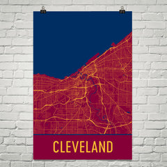 Cleveland OH Street Map Poster Black