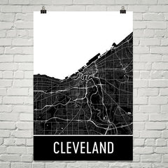 Cleveland OH Street Map Poster Red and Blue