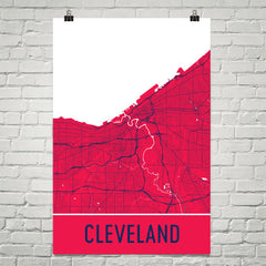 Cleveland OH Street Map Poster Red and Yellow