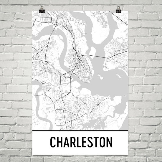 Charleston SC Street Map Poster White