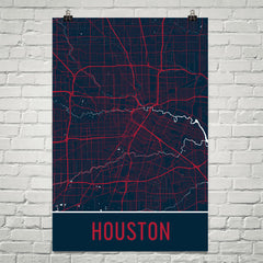 Houston TX Street Map Poster Black