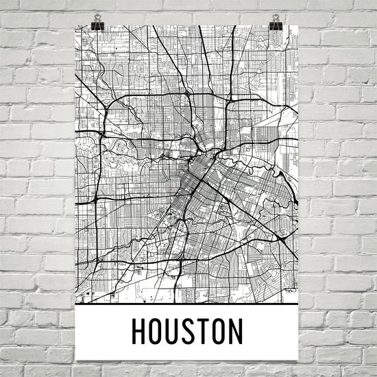 Houston TX Street Map Poster White