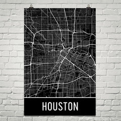 Houston TX Street Map Poster Blue