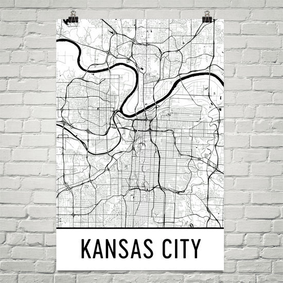 Kansas City MO Street Map Poster - Wall Print by Modern Map Art on