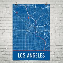 Los Angeles CA Street Map Poster Black