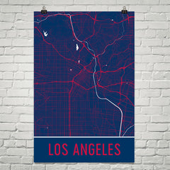 Los Angeles CA Street Map Poster White