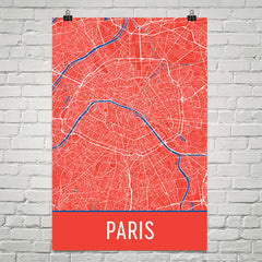 Paris France Street Map Poster Black